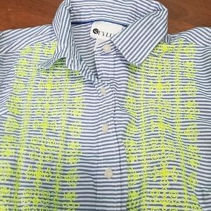 Stylus striped blouse with neon embroidery